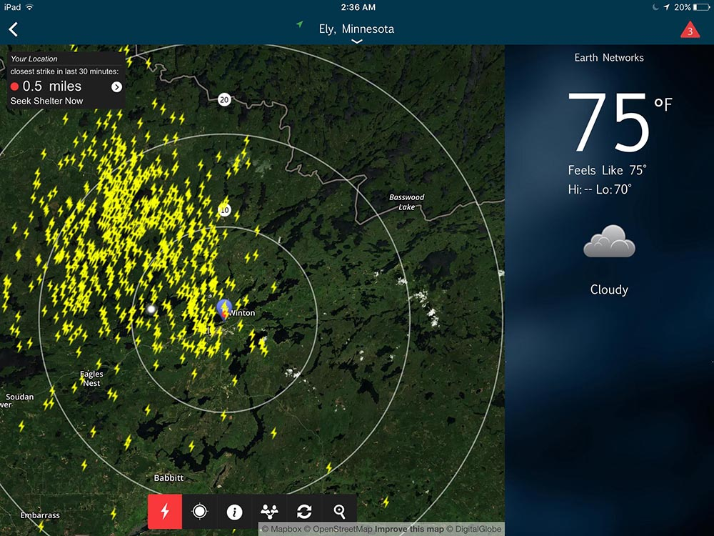 Screenshot Of Lightning Strikes In Ely At 2 30am Seen On Spark Tracker