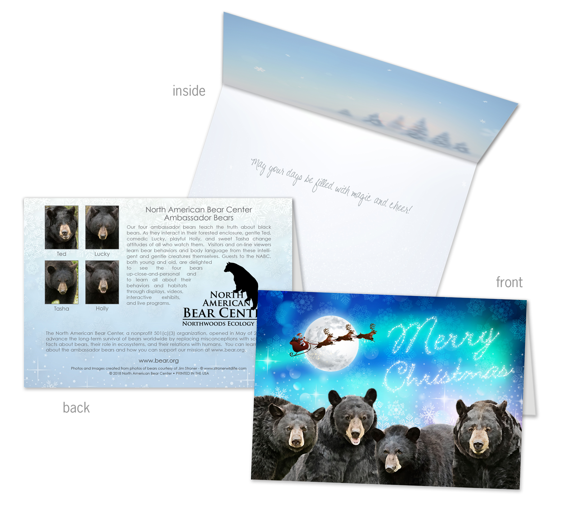 Four bears holiday card